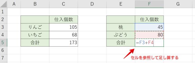 +プラス記号で足し算にして他のセルも参照する