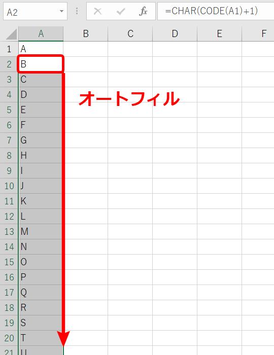 Aからアルファベットを連続で表示