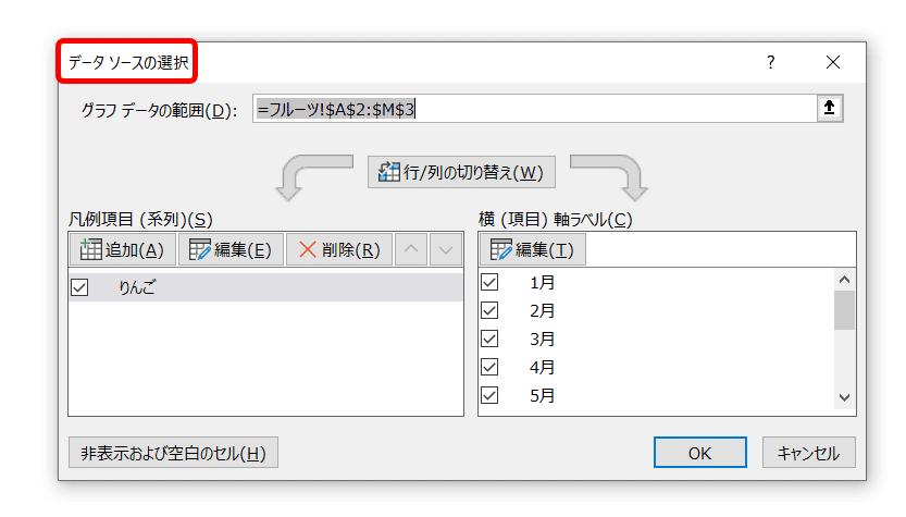 [データソースの選択]ダイアログボックス