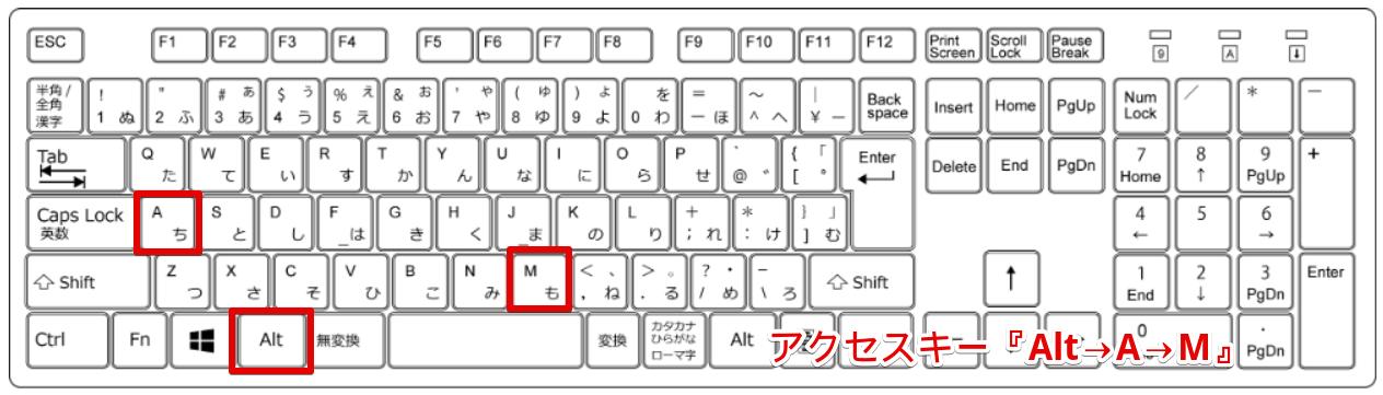 Alt→A→Mの場所