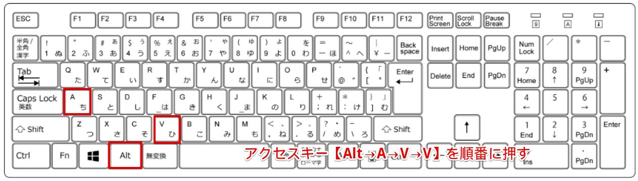 アクセスキー【Alt→A→V→V】