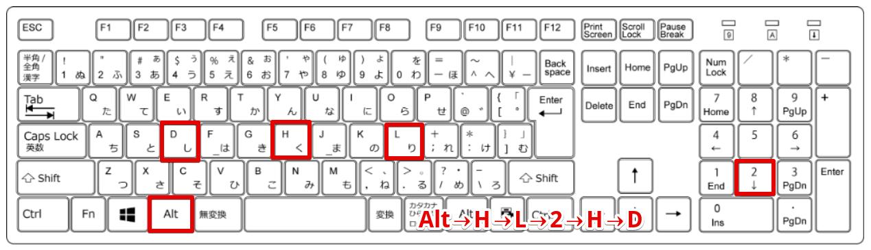 Alt→H→L→2→H→Dの場所