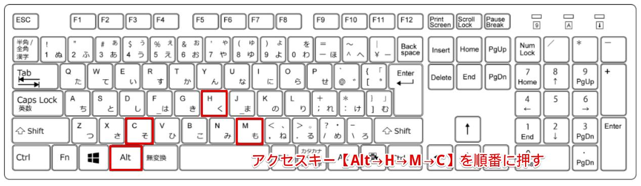 アクセスキー【Alt→H→M→C】