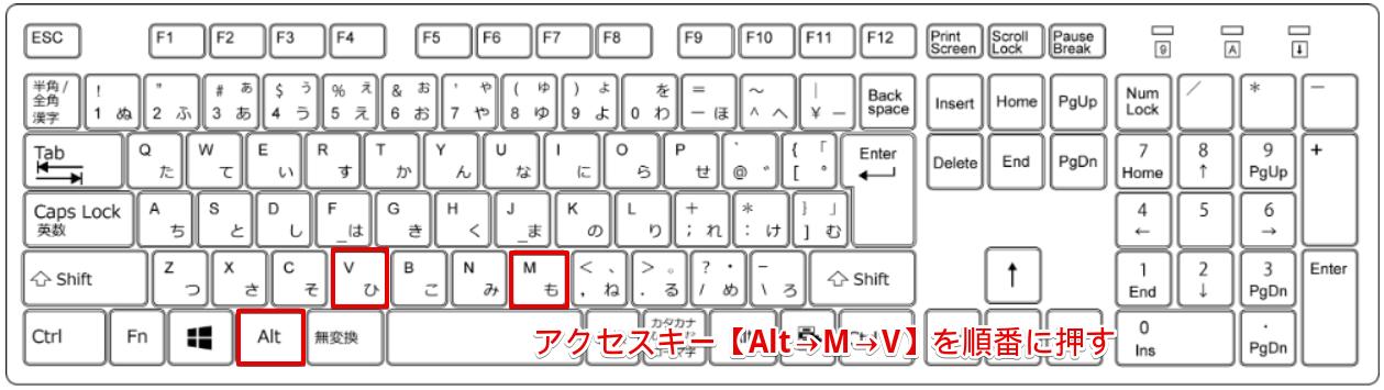 アクセスキー【Alt→M→V】