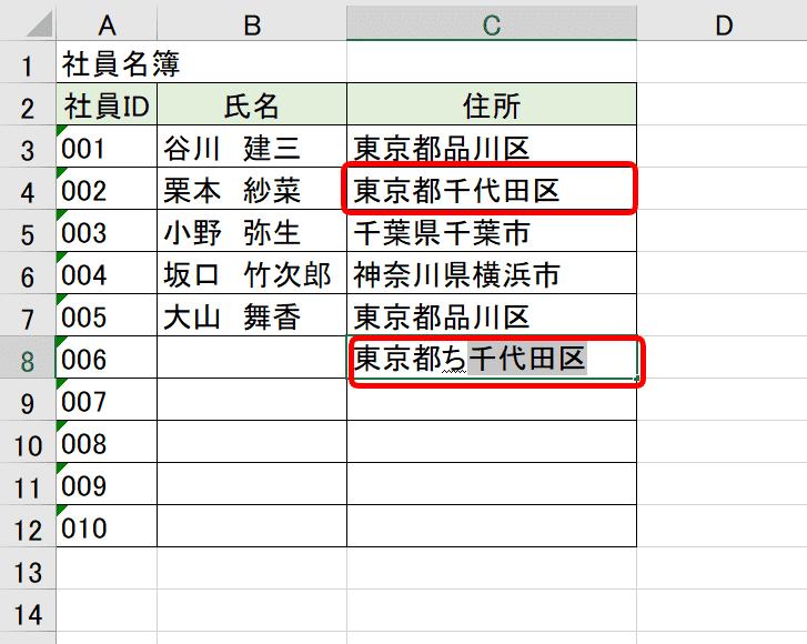 『東京都千代田区』の表示