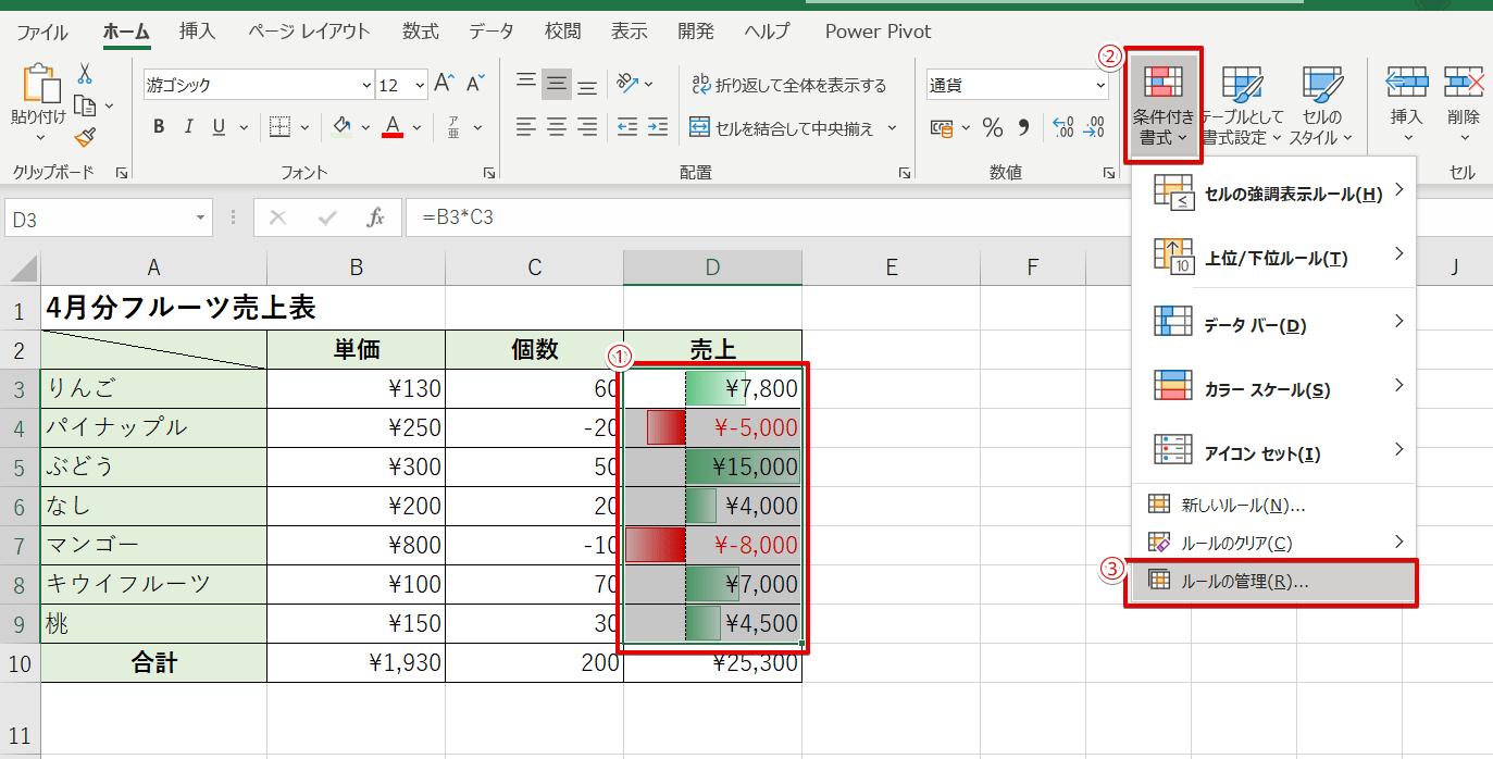 赤いデータバーを青に変更
