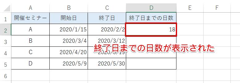 セルD2に終了日までの日数が表示された