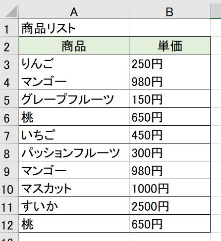 フルーツ商品リスト