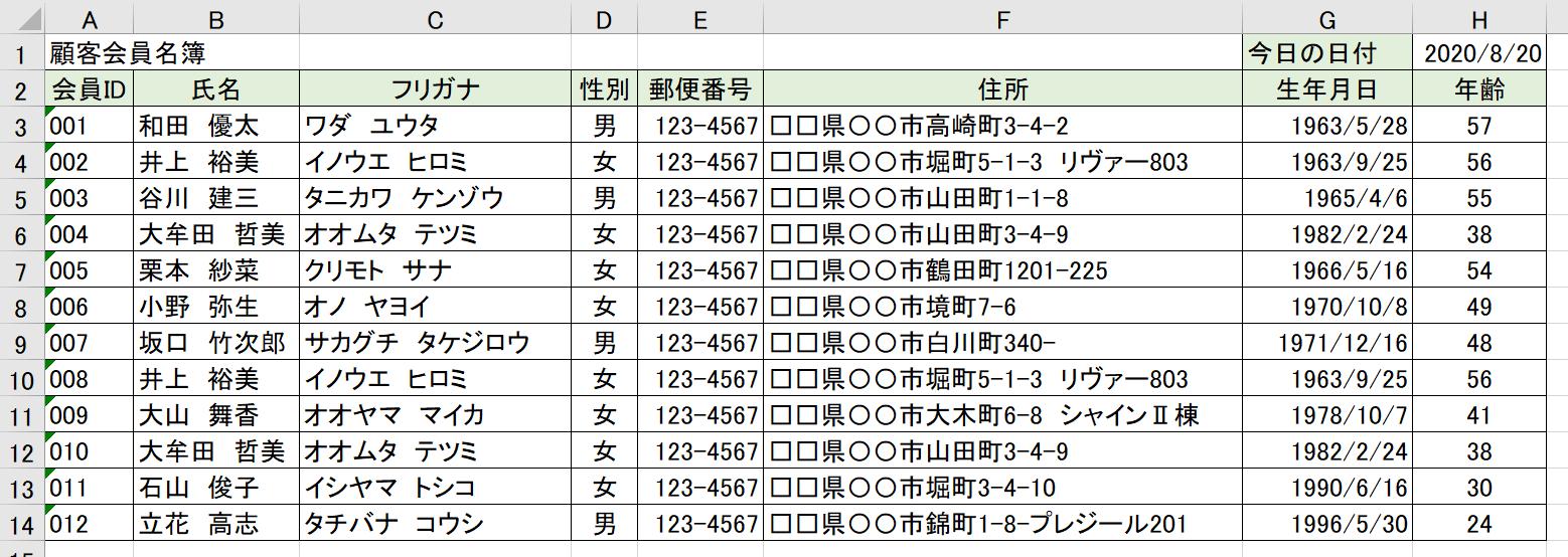顧客会員名簿