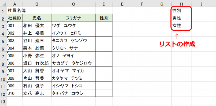 リスト作成