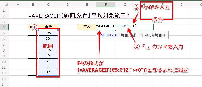 """数式が[=AVERAGEIF(C5:C12,""""0"""")]となるように設定"""