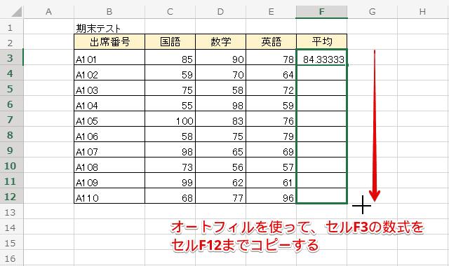 セルF3の数式をセルF12までコピー