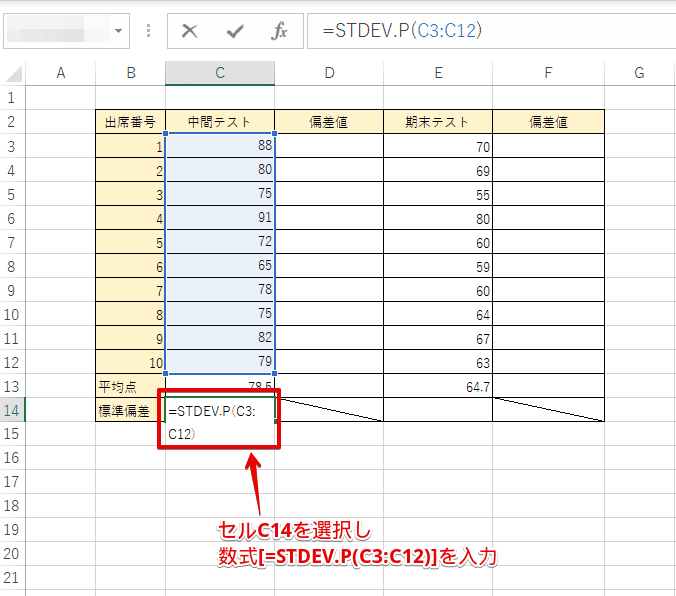 セルC14に数式を入力