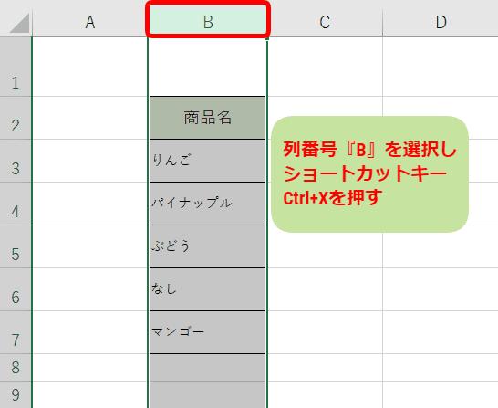 ショートカットキーCtrl+X(切り取り)