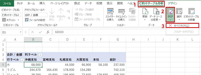 [ピボットテーブル分析]-[クリア]-[すべてクリア]を選択
