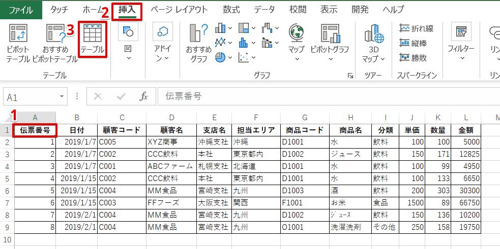 リスト-[挿入]-[テーブル]を選択
