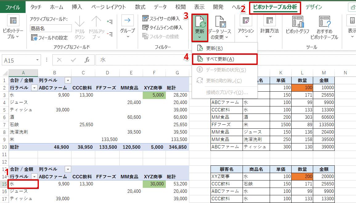 [ピボットテーブル分析]-[すべて更新]を選択