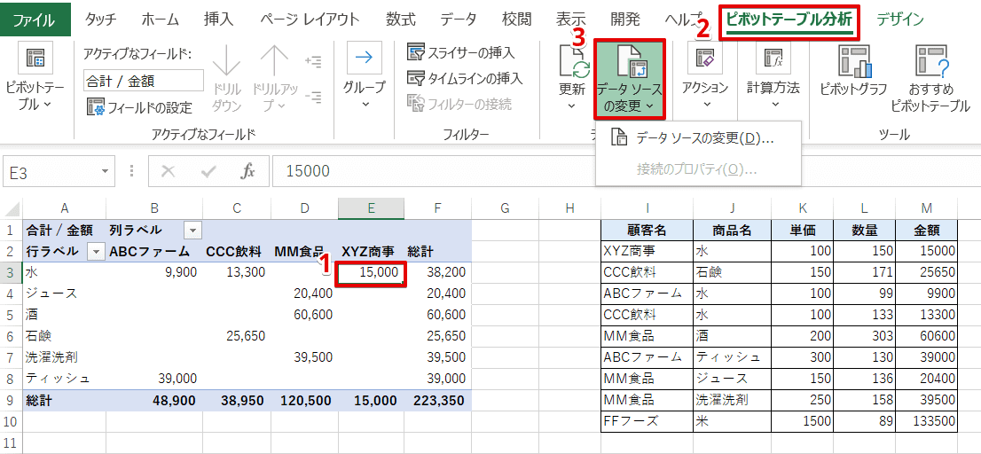 [ピボットテーブル分析]-[データソースの変更]を選択