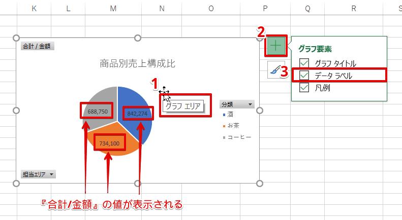 [グラフ要素]-[データラベル]にチェック