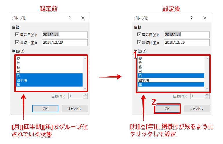[グループ化]ダイアログボックスより設定