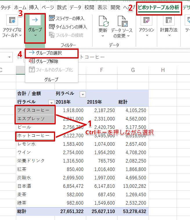 [ピボットテーブル分析]-[グループ]-[→グループの選択]を選択