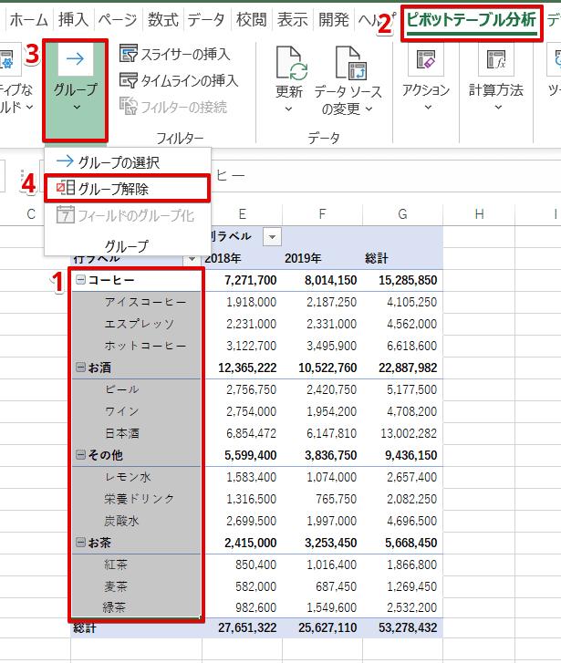 [ピボットテーブル分析]-[グループ]-[グループ解除]を選択