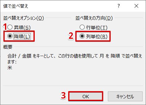 [値で並べ替え]ダイアログボックスより設定