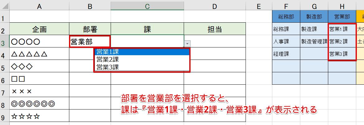 2段階のプルダウンリスト完成