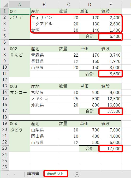 sheet2商品リスト