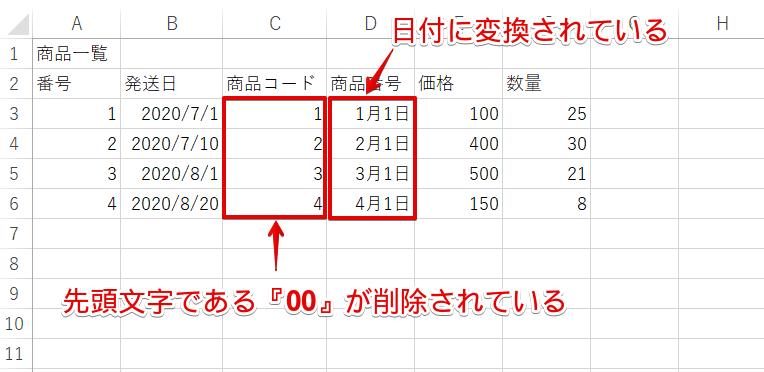 データ形式をG/標準に設定した結果