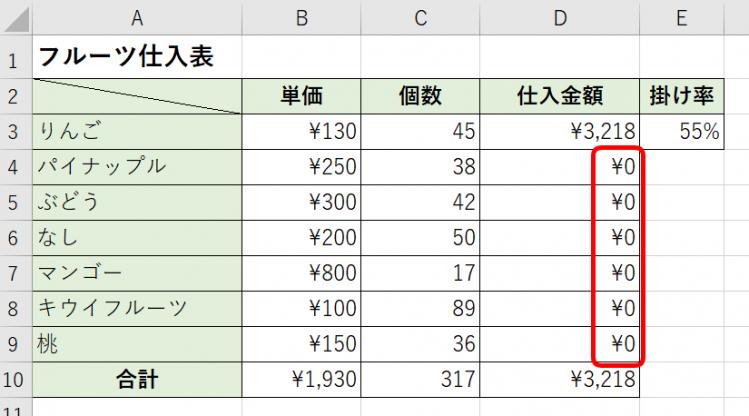 仕入金額が0円?!