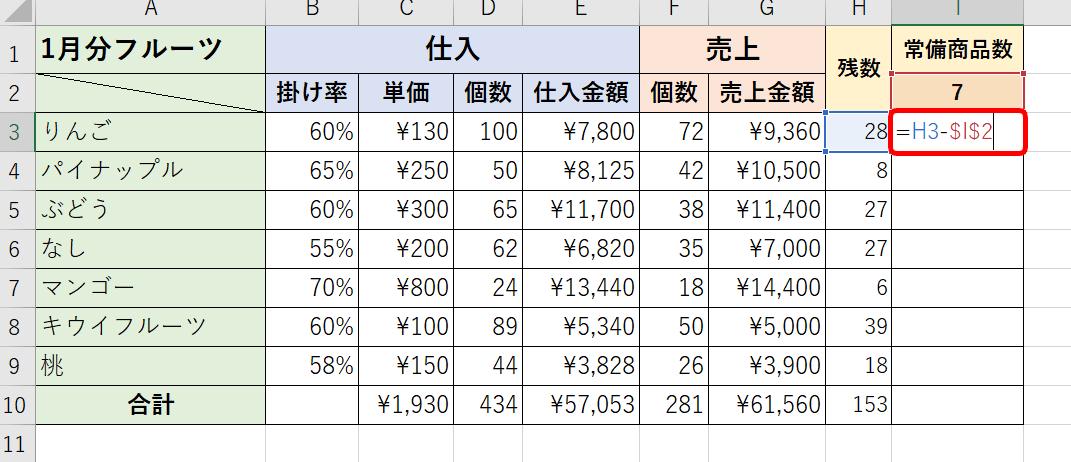 引き算 数式 エクセル