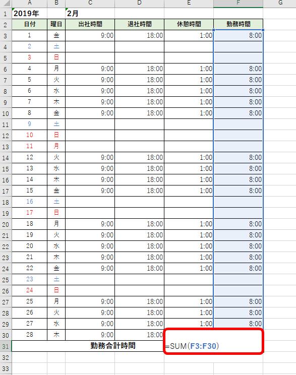 勤務時間の合計を求めるSUM関数